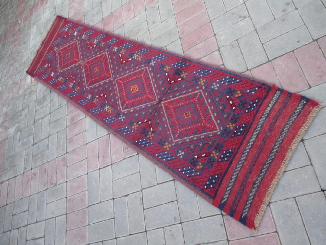 Tribal Hand knotted Meshwani Runner Rug 7.8x1.9