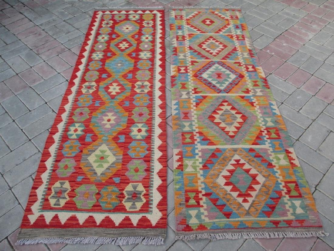Two Hand Woven Chobi Kilim Runner Rug 6.5x1.9