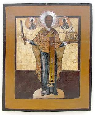 18th CENTURY ANTIQUE RUSSIAN ICON OF ST NICHOLAS OF