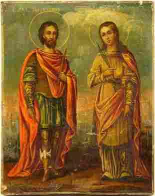 Saints Galaktion and Epistimiya Icon