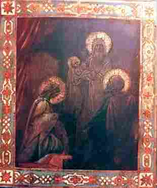 Antique 19c Russian icon of The Nativity of Mother of