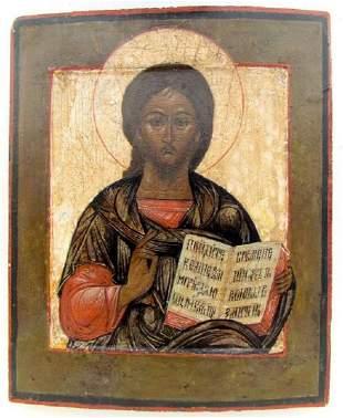 18th CENTURY ANTIQUE RUSSIAN ICON OF JESUS