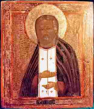 Antique 19c Russian Icon of Seraphim Sarovskiy