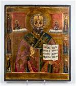 Antique 19c Russian icon of st.Nicholas with 6 saints