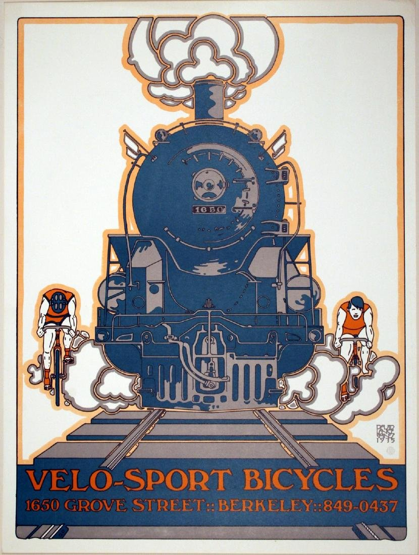 Velo Sport Bicycle Original Vintage Poster Lance Goines
