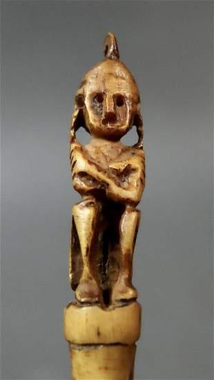 A old primitive amulet Leti cows bone hairpin