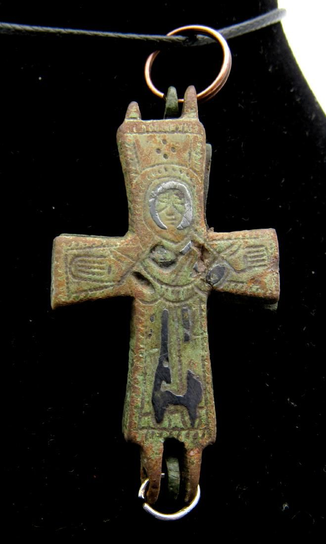 Medieval Crusaders Reliquary Cross Pendant with Niello
