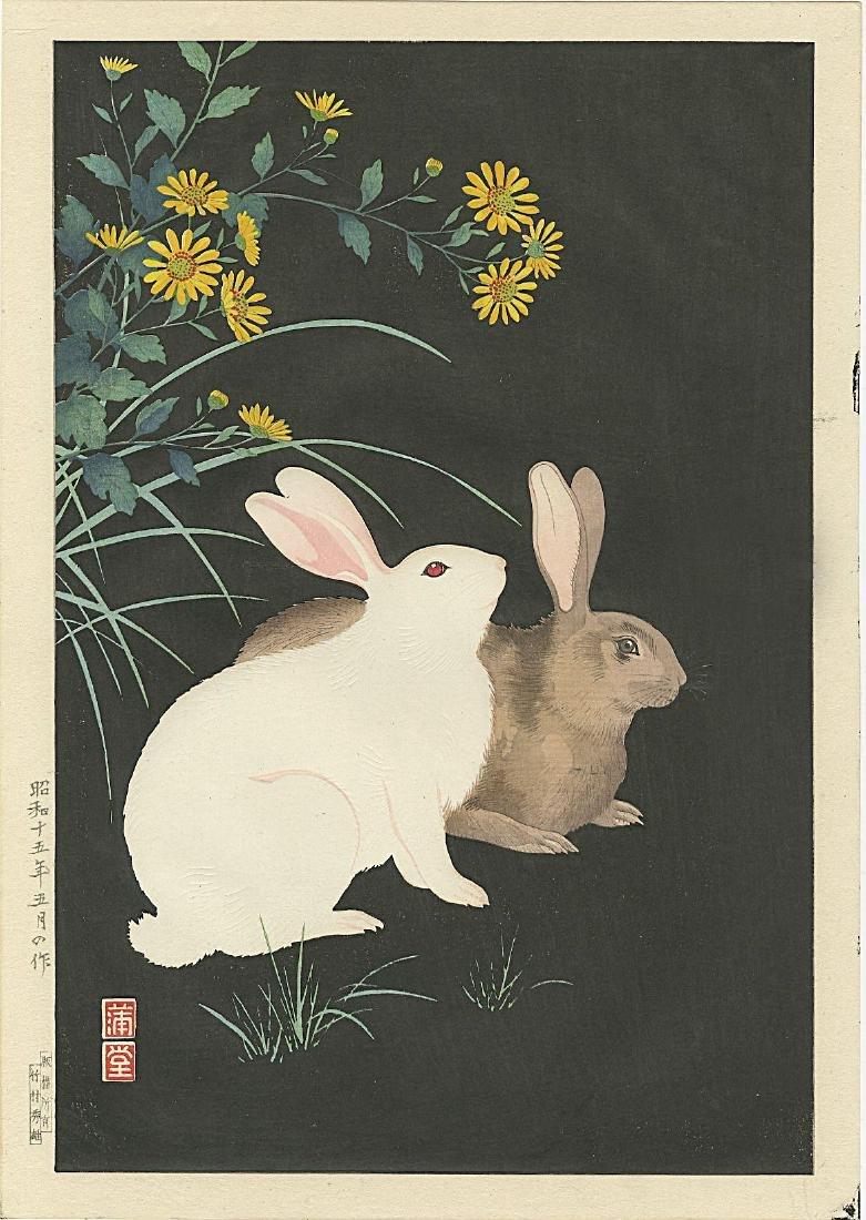 Hodo Nishimura Woodblock Rabbits at Night