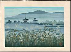 Masao Ido First Edition Woodblock Temple and Reeds