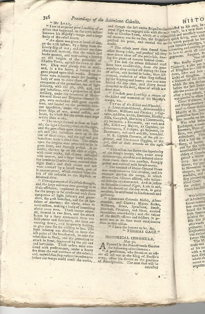 1775 Magazine Account of Bunker Hill Revolutionary War - 2