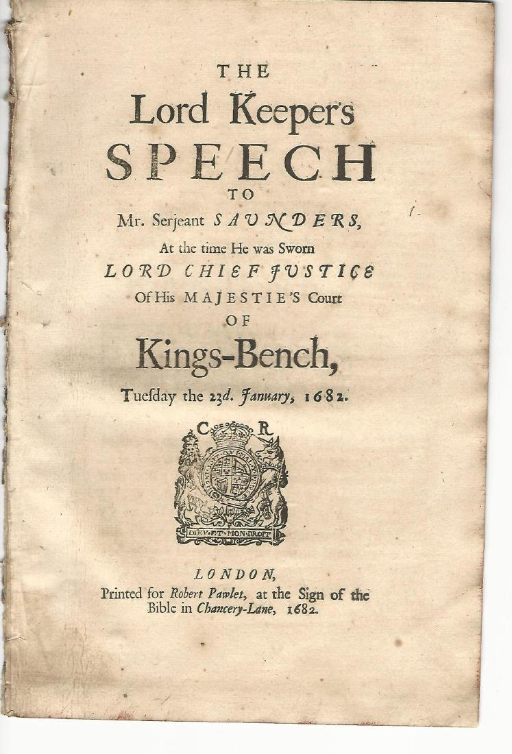 1682 The Lord Keeper's speech to Mr. Serjeant Saunders
