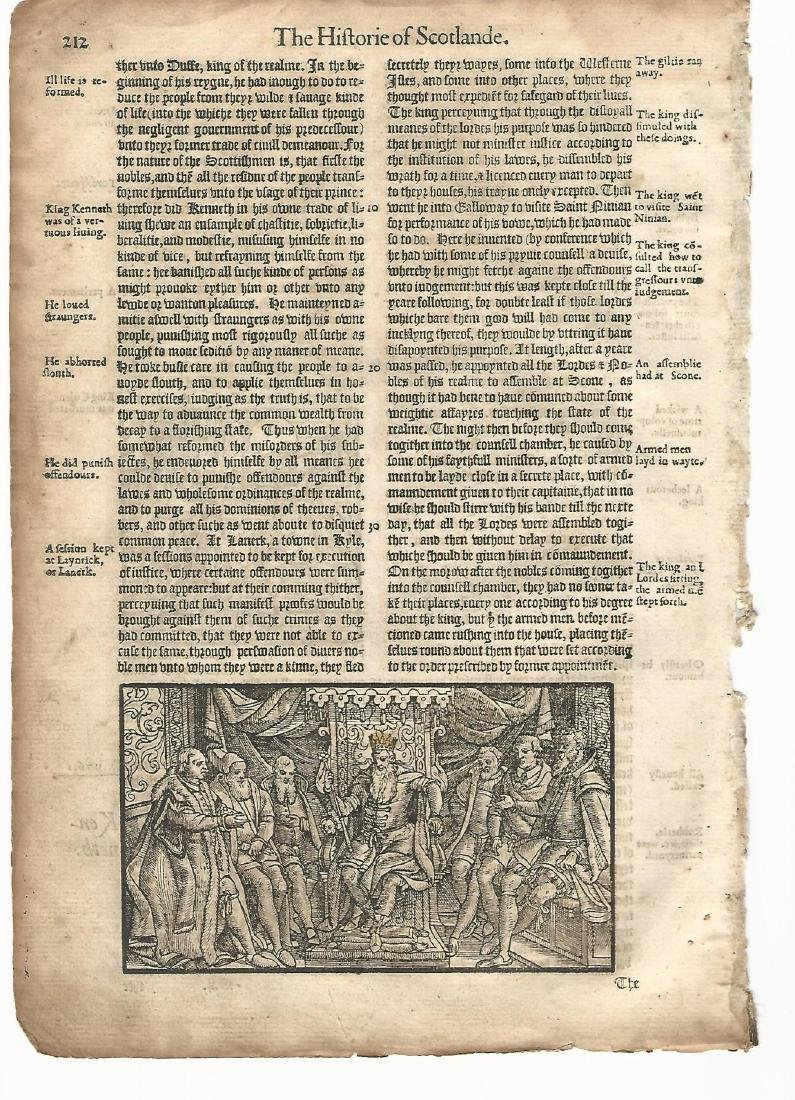 1577 Woodcut Leaf Holinshed Chronicles Scotland