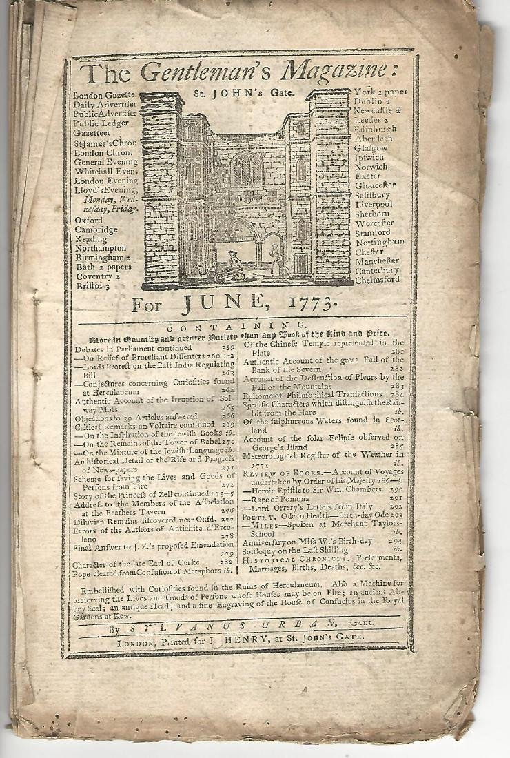 1773 Gentleman's Magazine w/ Two Engravings