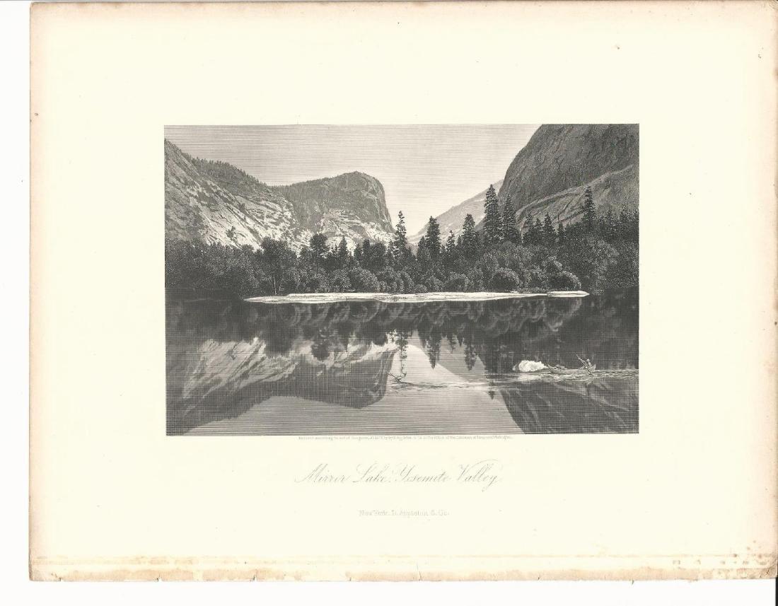 1872 Engraving Mirror Lake Yosemite Valley