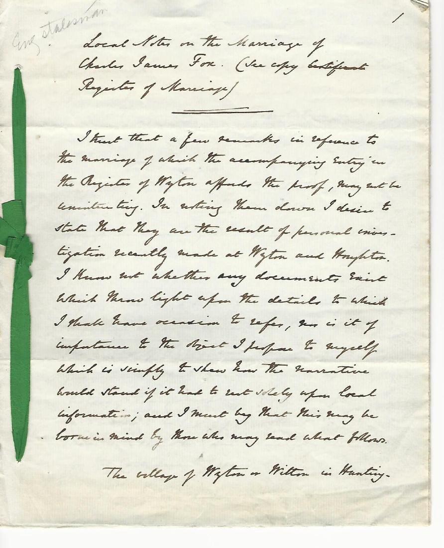 1859 Interesting Manuscript Marriage Charles James Fox