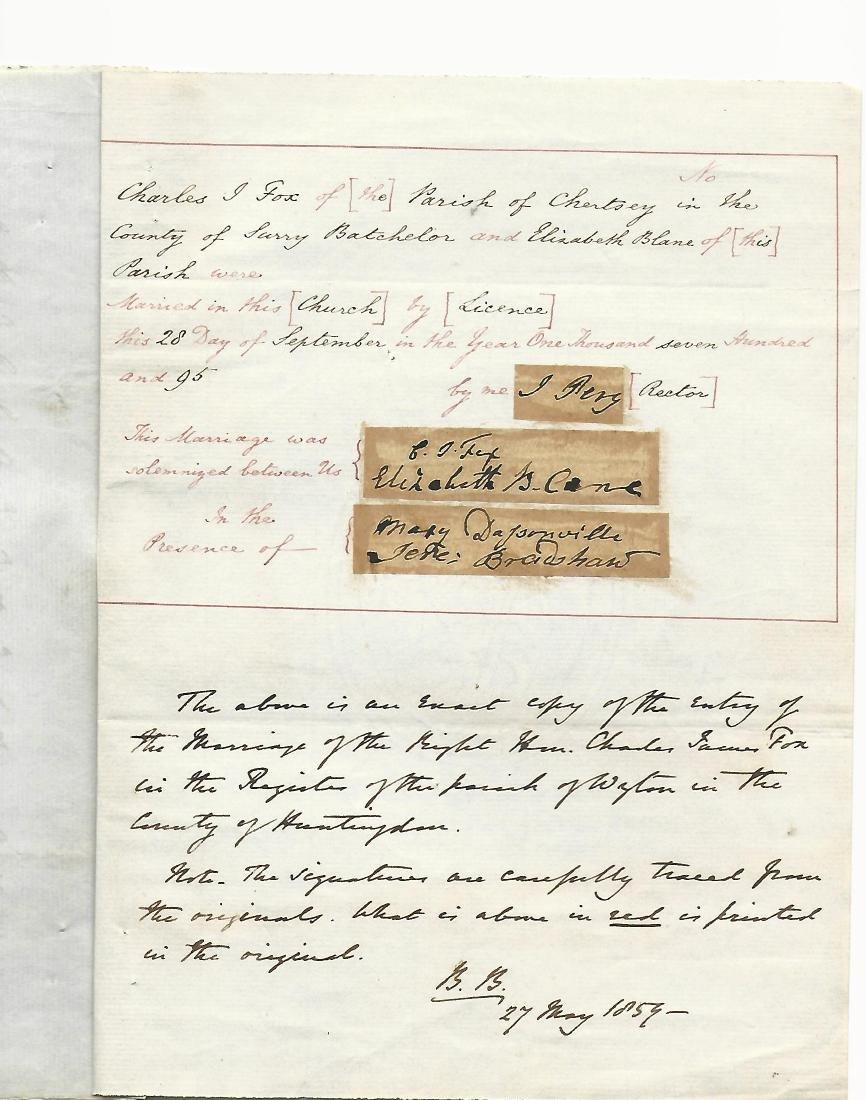 1859 Interesting Manuscript Marriage Charles James Fox - 2