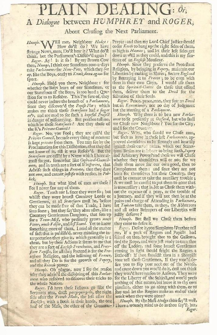 1681 Plain Dealing Humphrey & Roger the Next Parliament