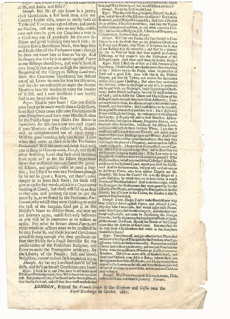 1681 Plain Dealing Humphrey & Roger the Next Parliament - 2