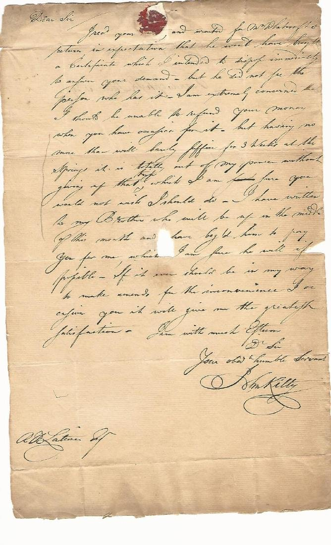 c1750 Colonial Letter w/ Watermark