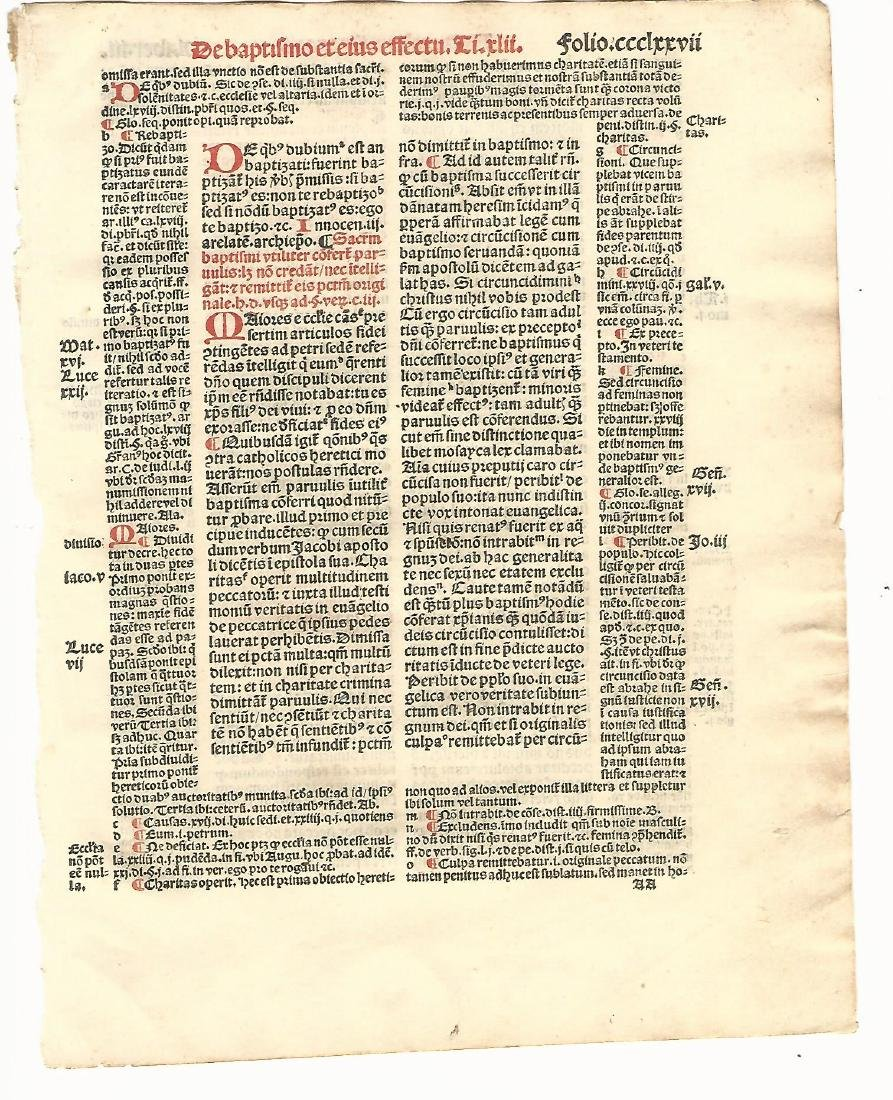 1516 Leaf Decretales Pope Gregory IX Paris