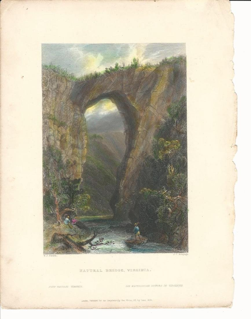 1839 Hand Colored Bartlett Engraving Natural Bridge