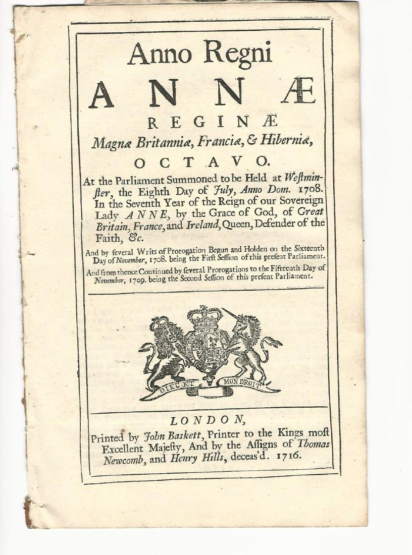 1708/9 English Act Reign of Queen Anne Bread Prices