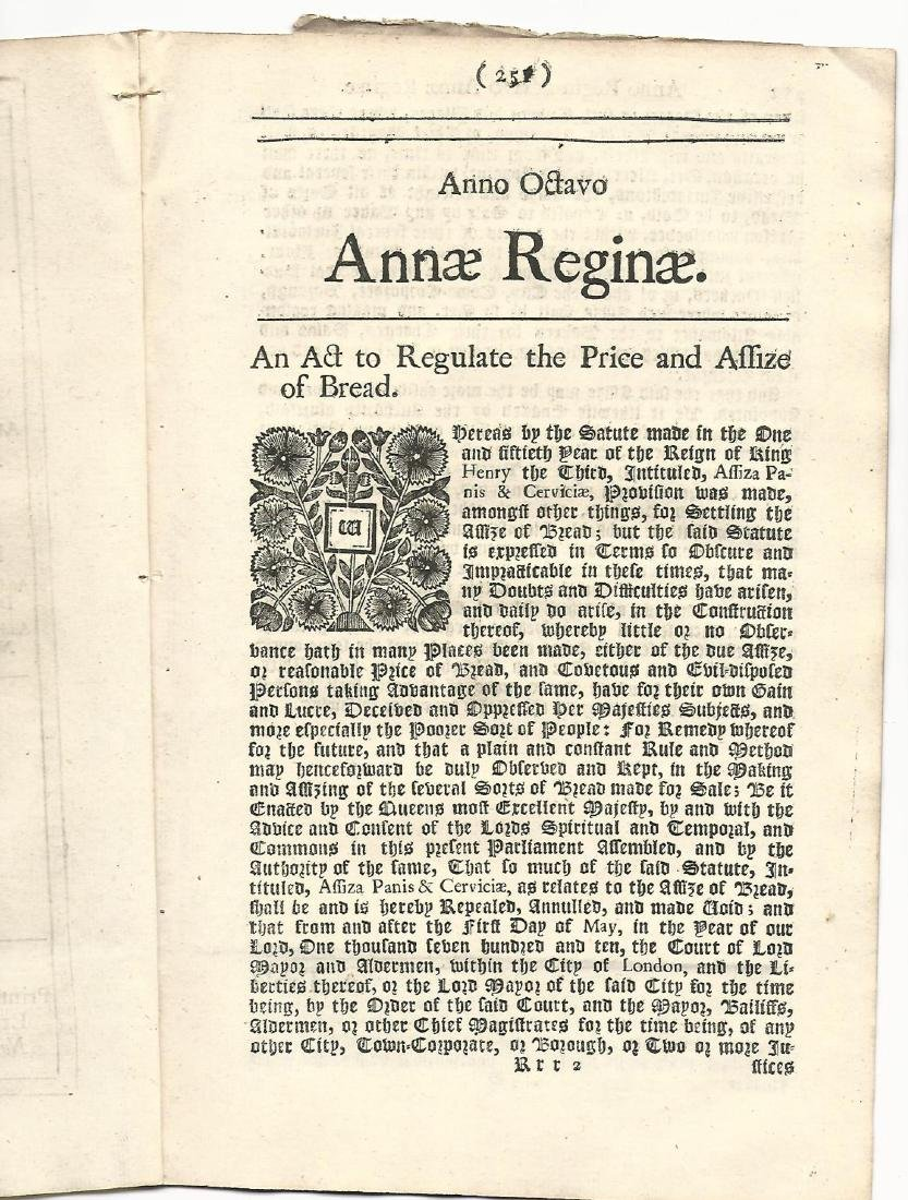 1708/9 English Act Reign of Queen Anne Bread Prices - 2