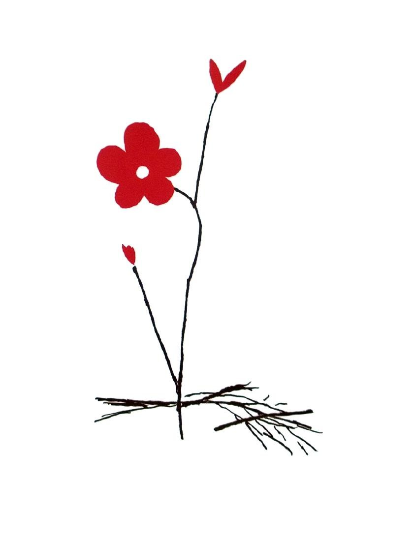 Aki Kuroda Offset Lithograph Red Flower