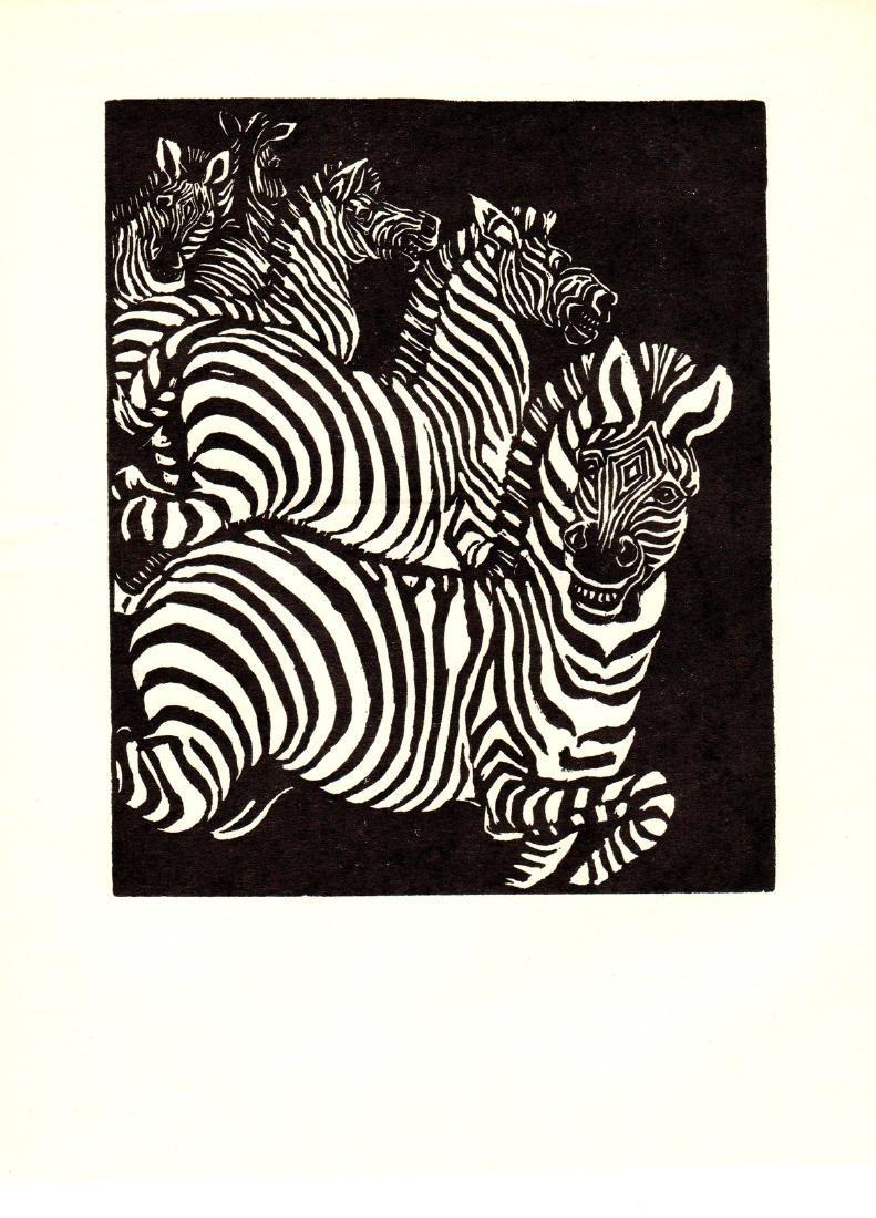Wuanita Smith Woodblock Wild Zebras