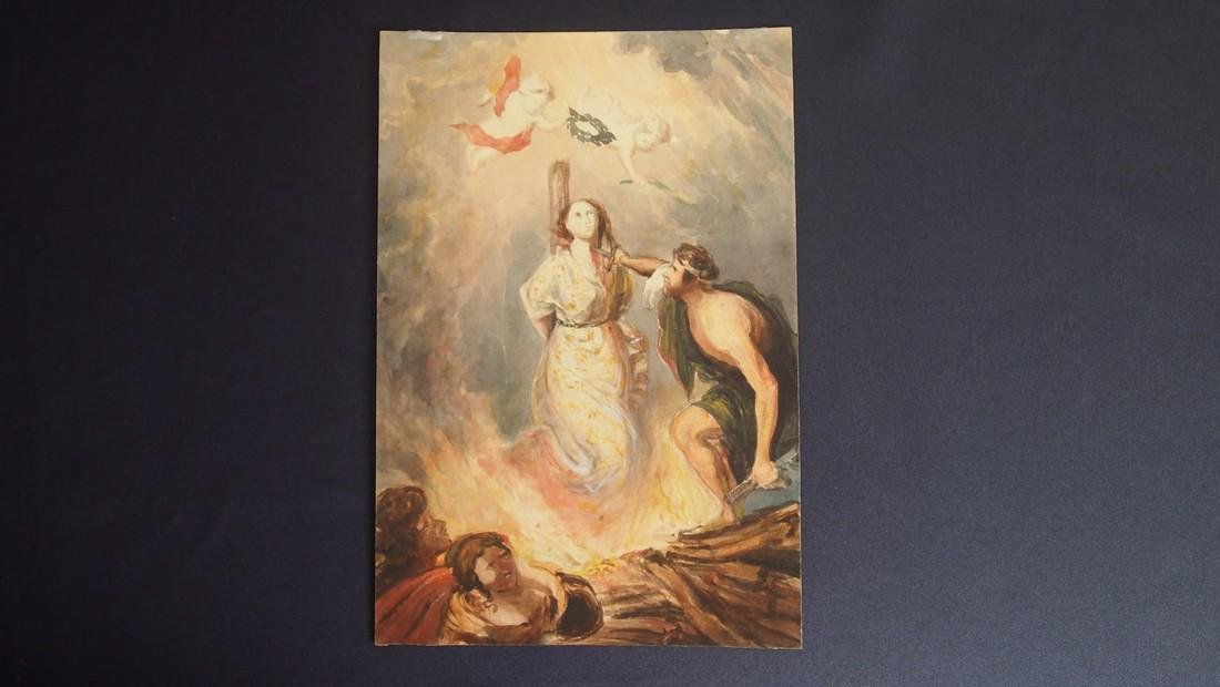 European French 18th Century Burning of Joan D' Arc