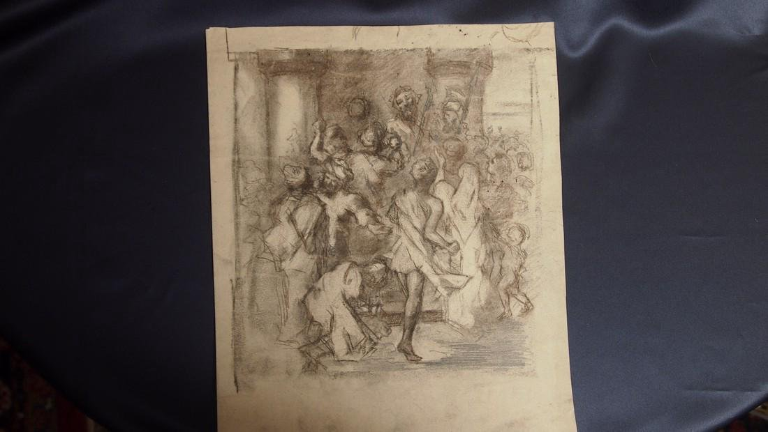 European Drawing Late 17 Cent Jesus in the Marketplace