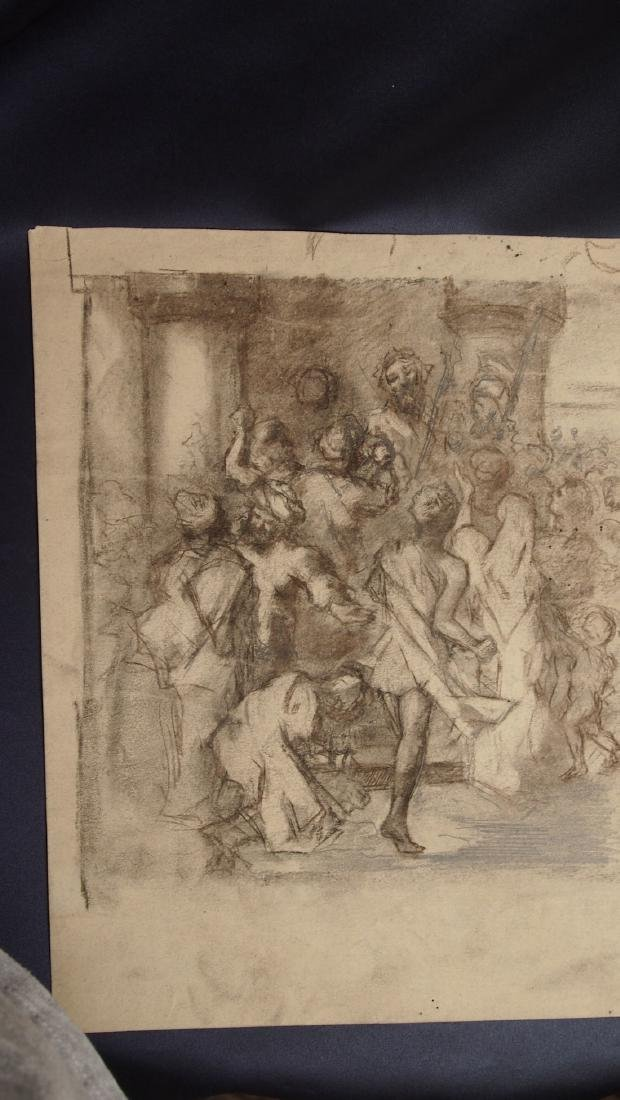 European Drawing Late 17 Cent Jesus in the Marketplace - 2