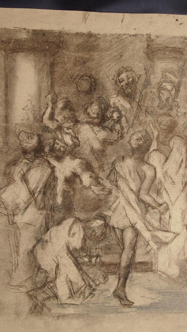 European Drawing Late 17 Cent Jesus in the Marketplace - 4