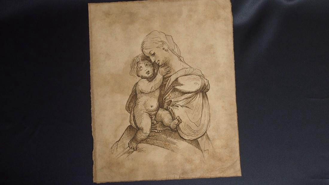 European Drawing Late 17 Cent Mother and Child