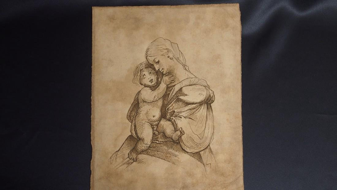 European Drawing Late 17 Cent Mother and Child - 2
