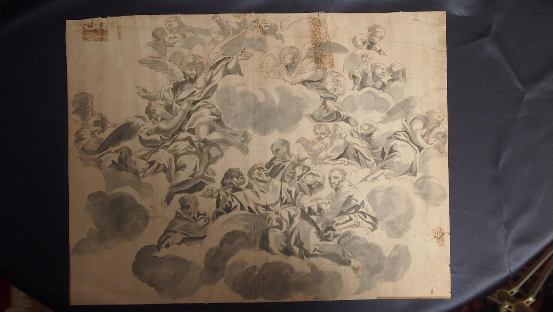 Francesco Solimena, Attrib. Monks Angels Fresco