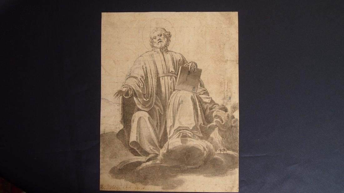 European Drawing 1550 Bearded Saint Evangelist & Halo