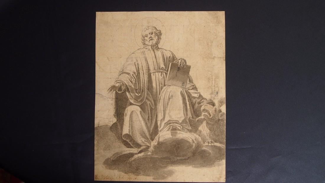 European Drawing 1550 Bearded Saint Evangelist & Halo