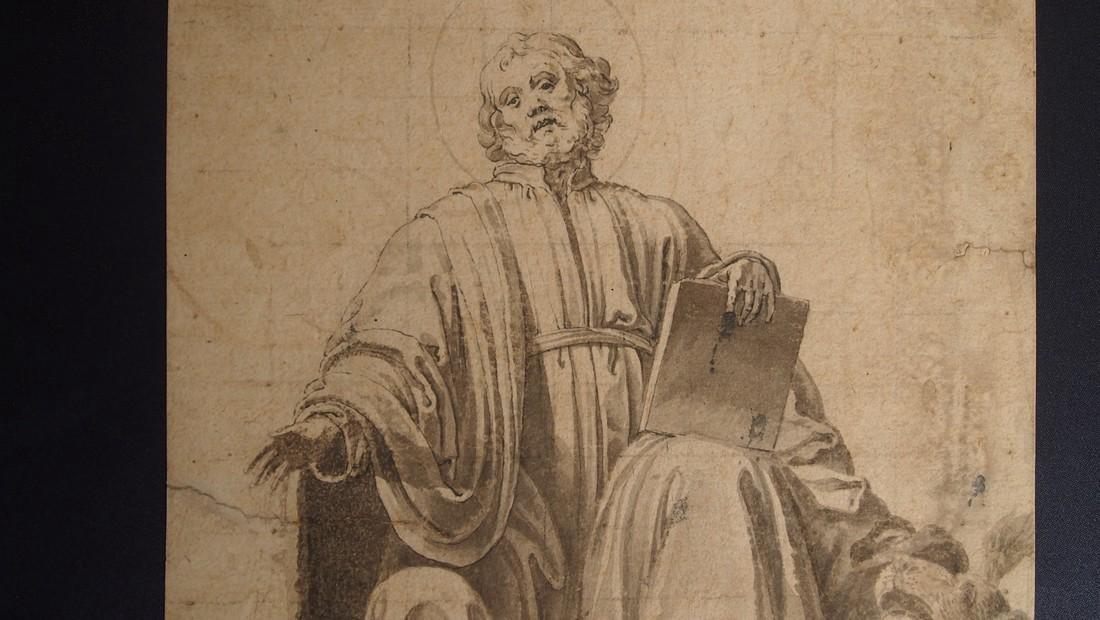European Drawing 1550 Bearded Saint Evangelist & Halo - 2
