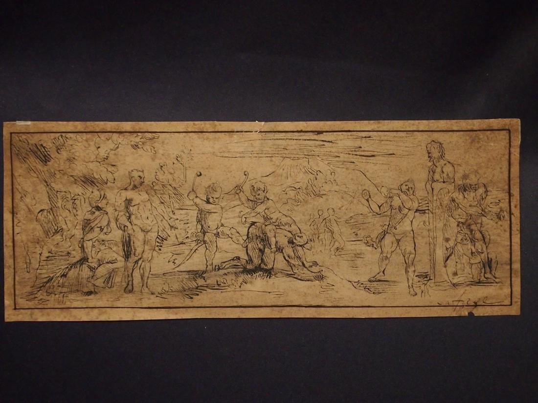 John Lafarge, Attrib. Allegorical 18th Century Drawing