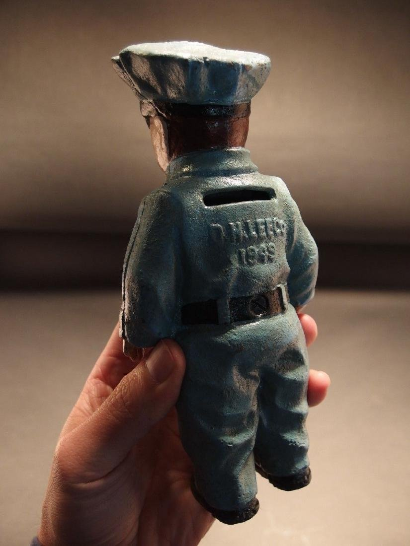 Cast Iron Route 66 Gas Pump Attendant Coin Bank Doll - 3