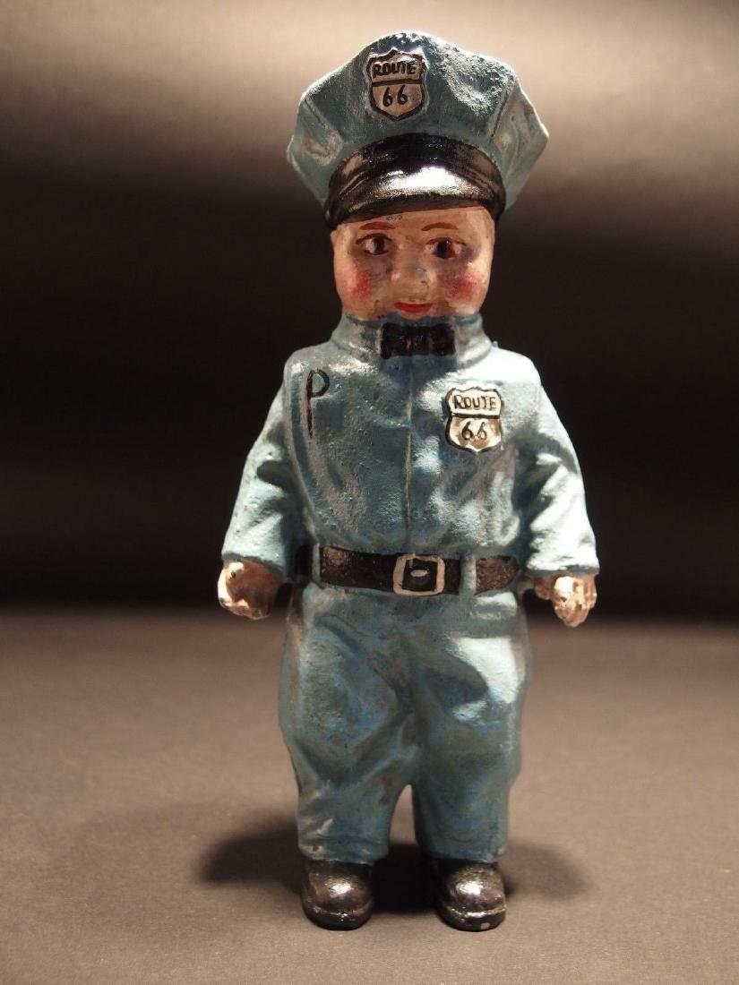 Cast Iron Route 66 Gas Pump Attendant Coin Bank Doll - 5