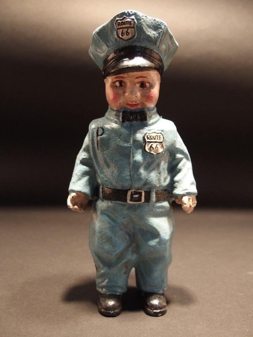 Cast Iron Route 66 Gas Pump Attendant Coin Bank Doll - 7