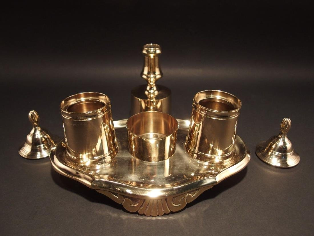 Gold Brass Double Inkwell Stand Set w Candle Holder - 6