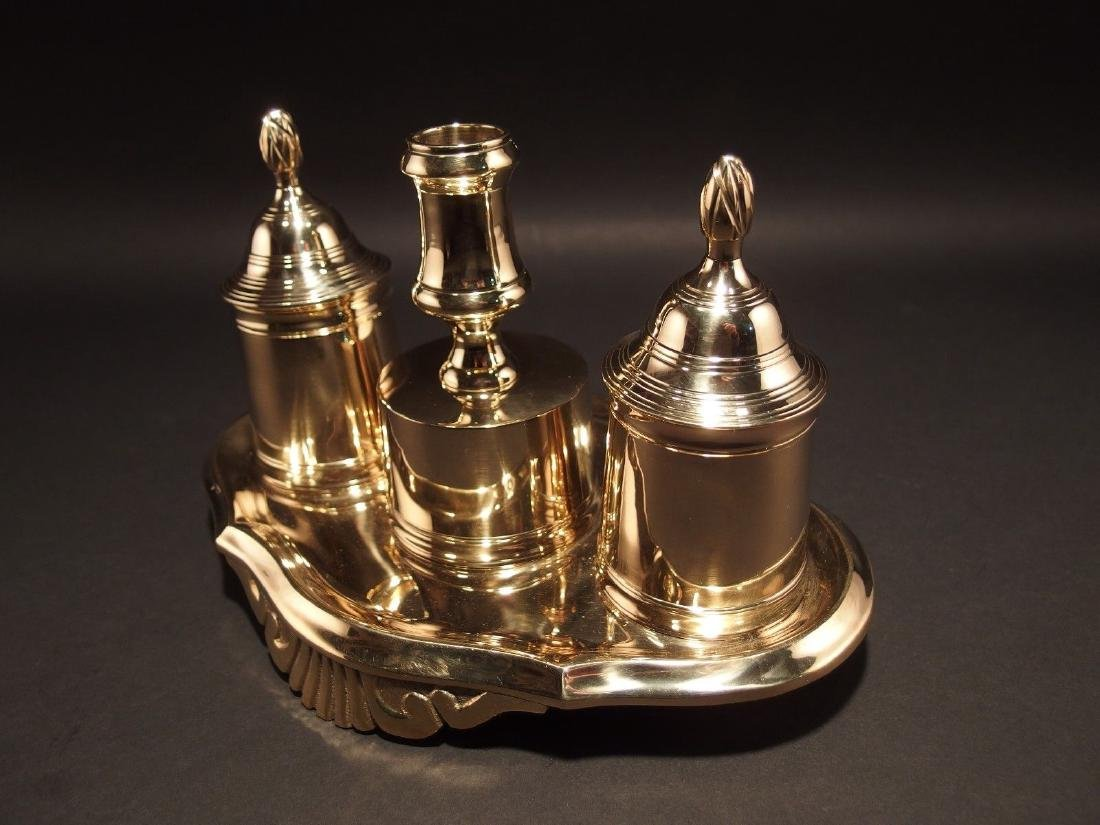Gold Brass Double Inkwell Stand Set w Candle Holder - 8