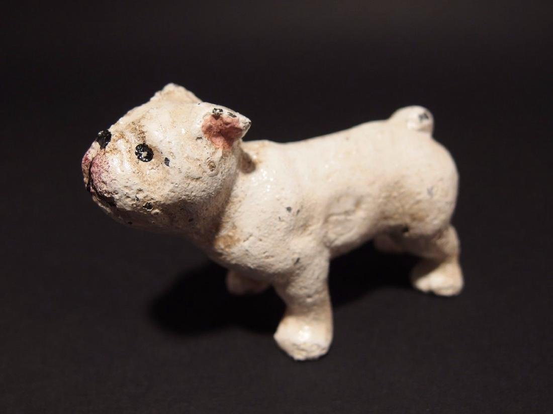 Primitive Miniature Cast Iron White Bull Dog