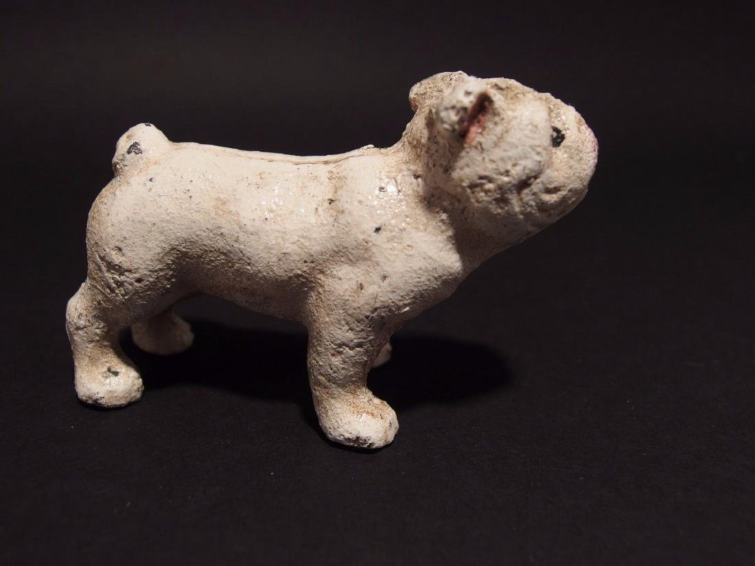 Primitive Miniature Cast Iron White Bull Dog - 6