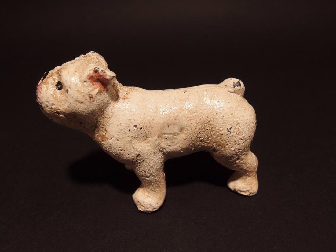 Primitive Miniature Cast Iron White Bull Dog - 7