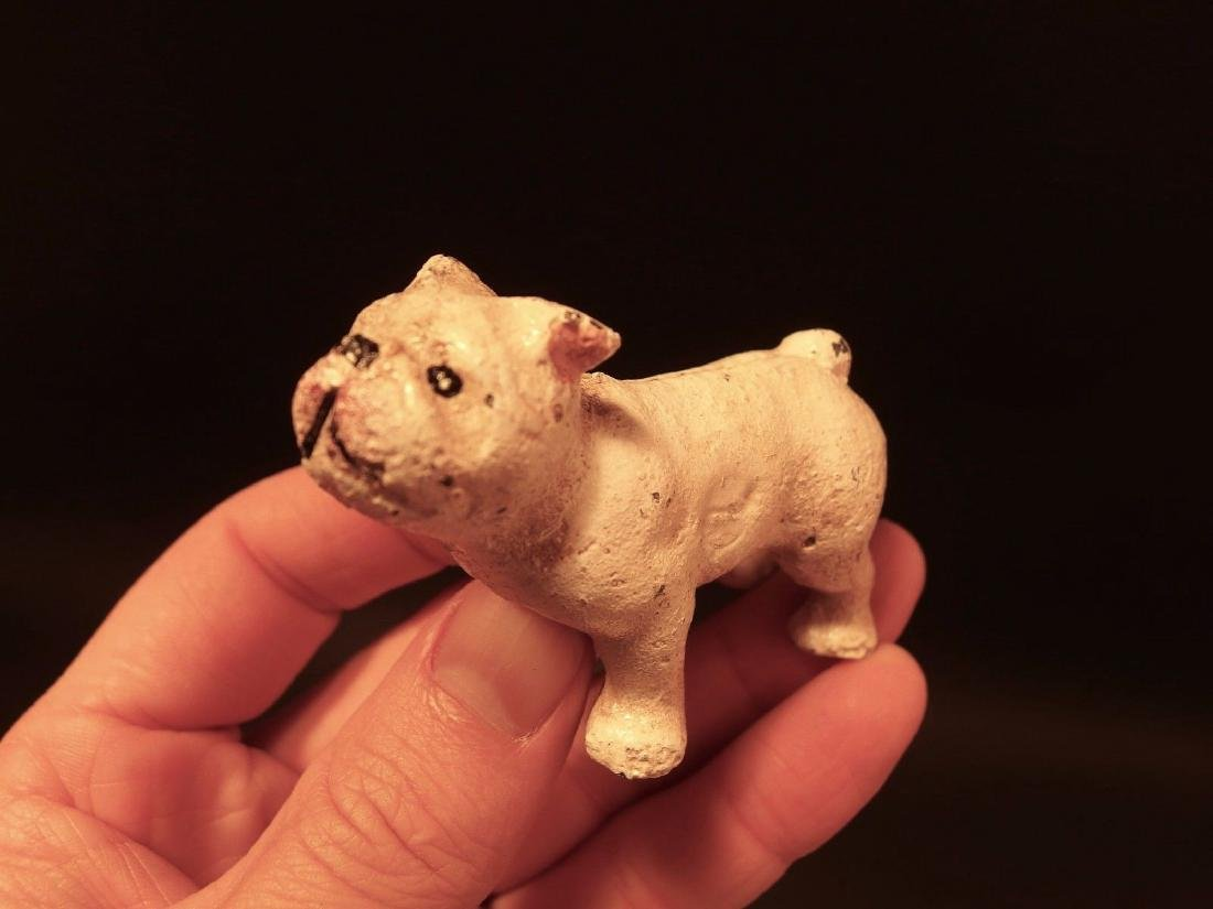 Primitive Miniature Cast Iron White Bull Dog - 9