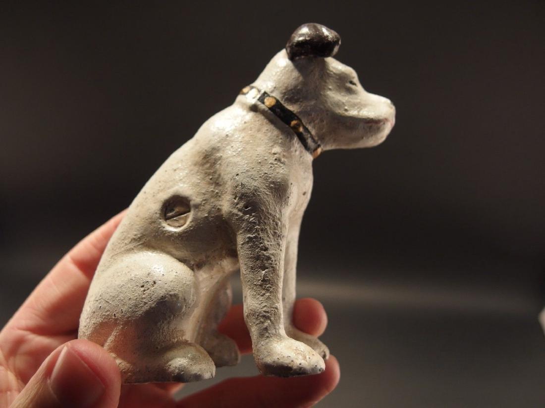 Primitive Miniature Cast Iron Nipper Dog Coin Bank - 4